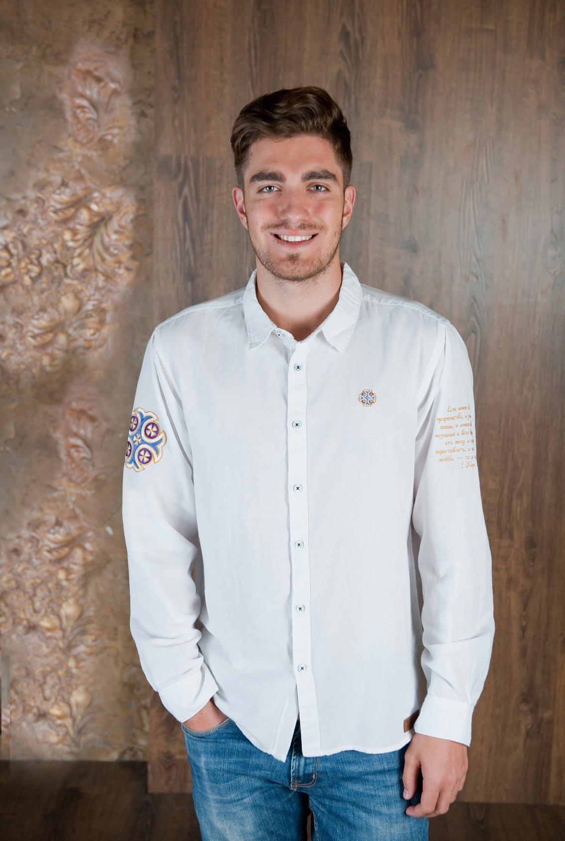 белая рубашка с синим крестом, white shirt with a blue cross