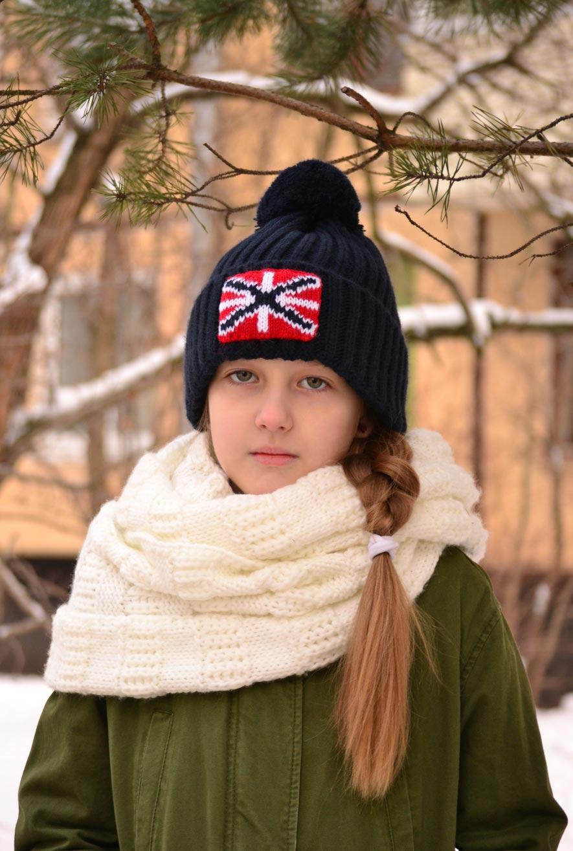 детская шапка с помпоном, children's hat with pompom
