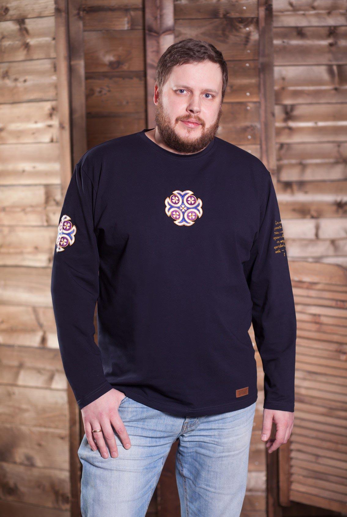 мужская футболка с большим синим крестом, men's t-shirt with a big blue cross